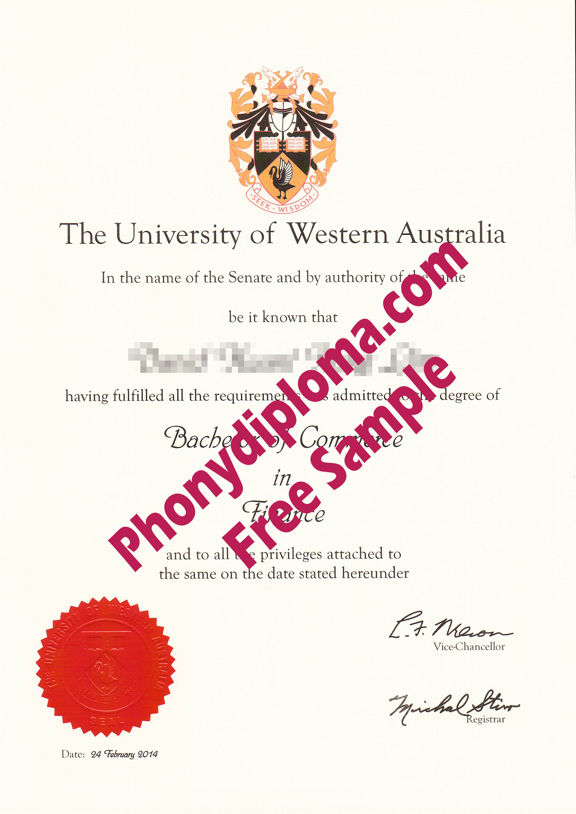 University Of Western Australia Free Sample From Phonydiploma