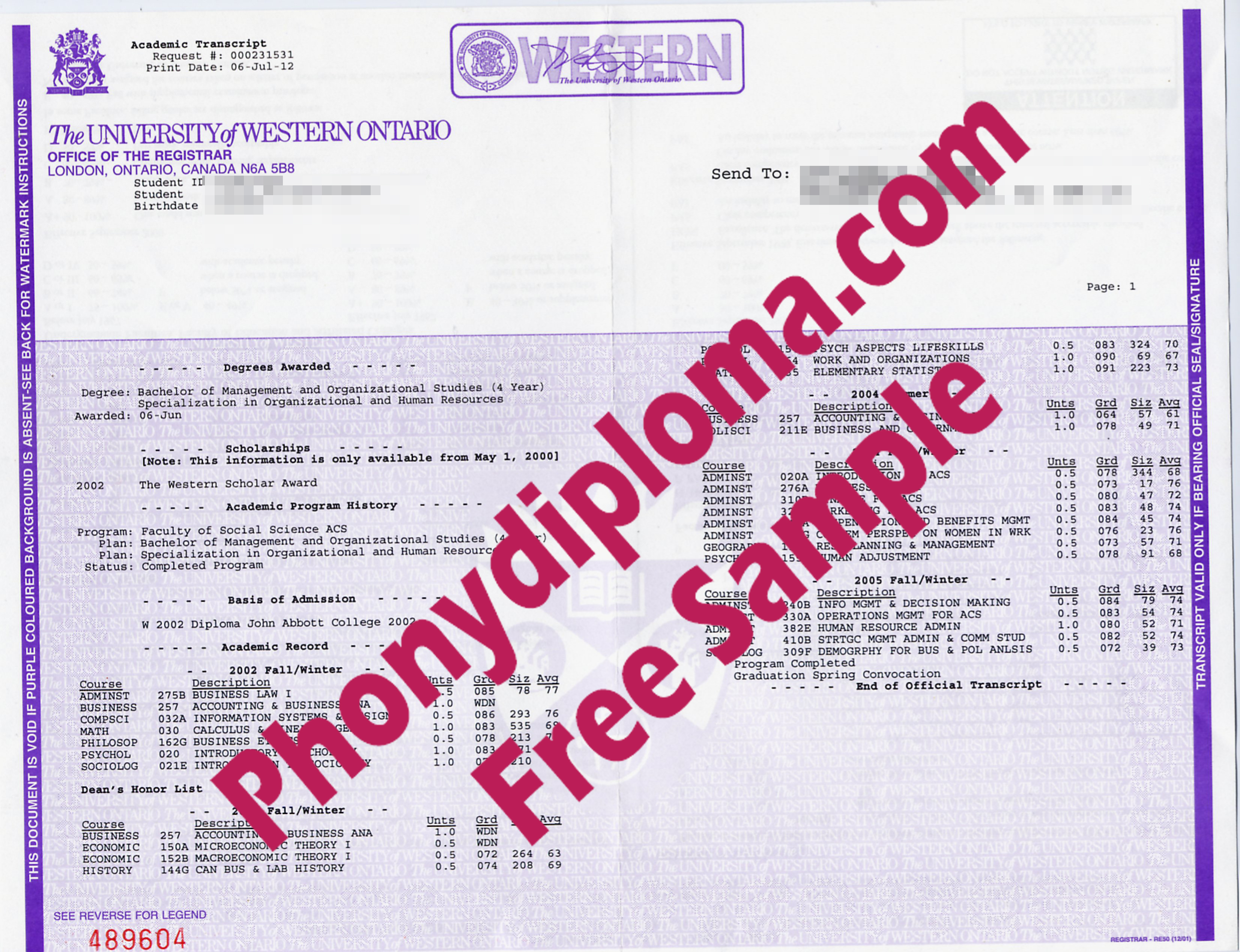 University Of Western Ontario Actual Match Transcripts Free Sample From Phonydiploma