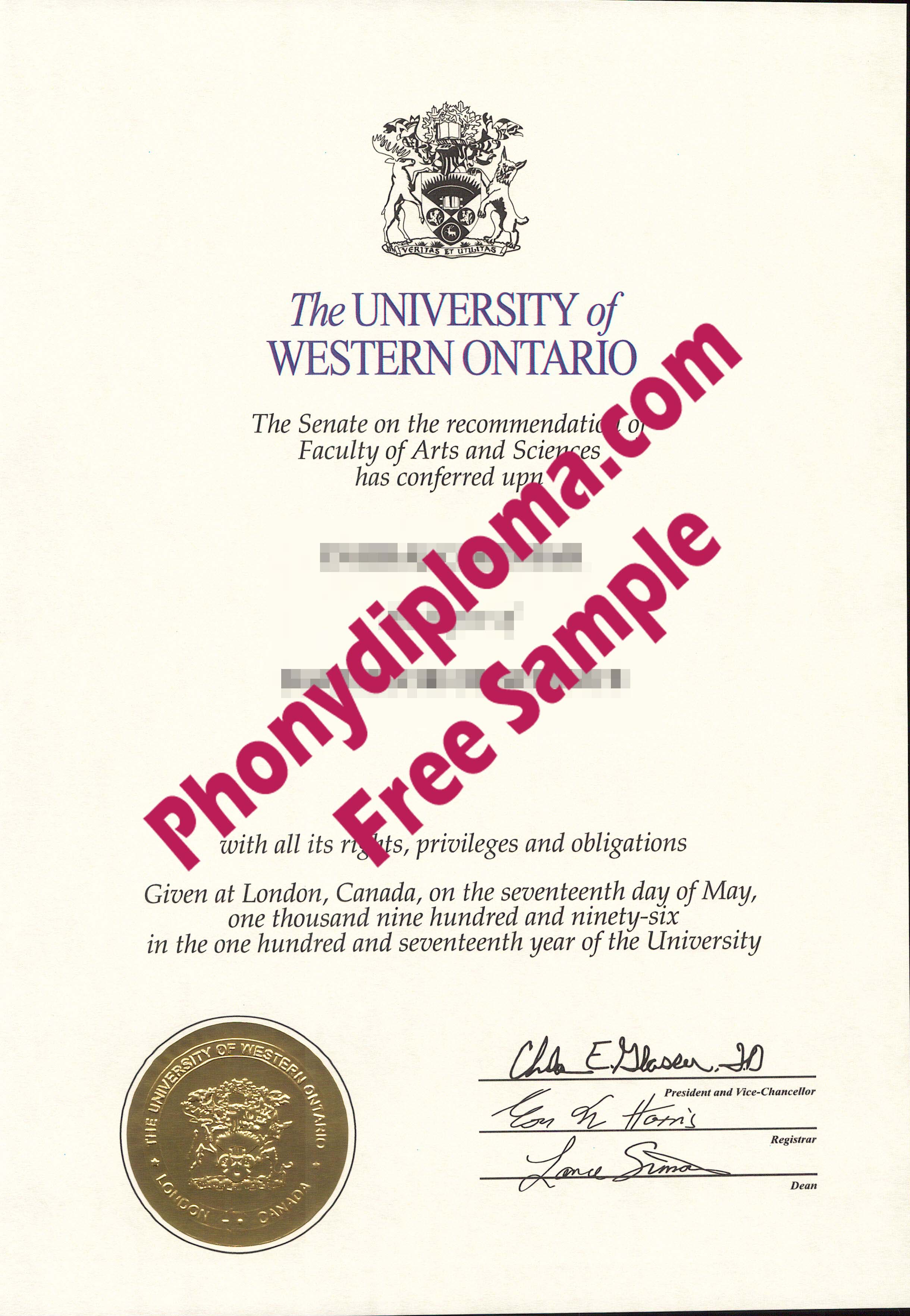 University Of Western Ontario Free Sample From Phonydiploma