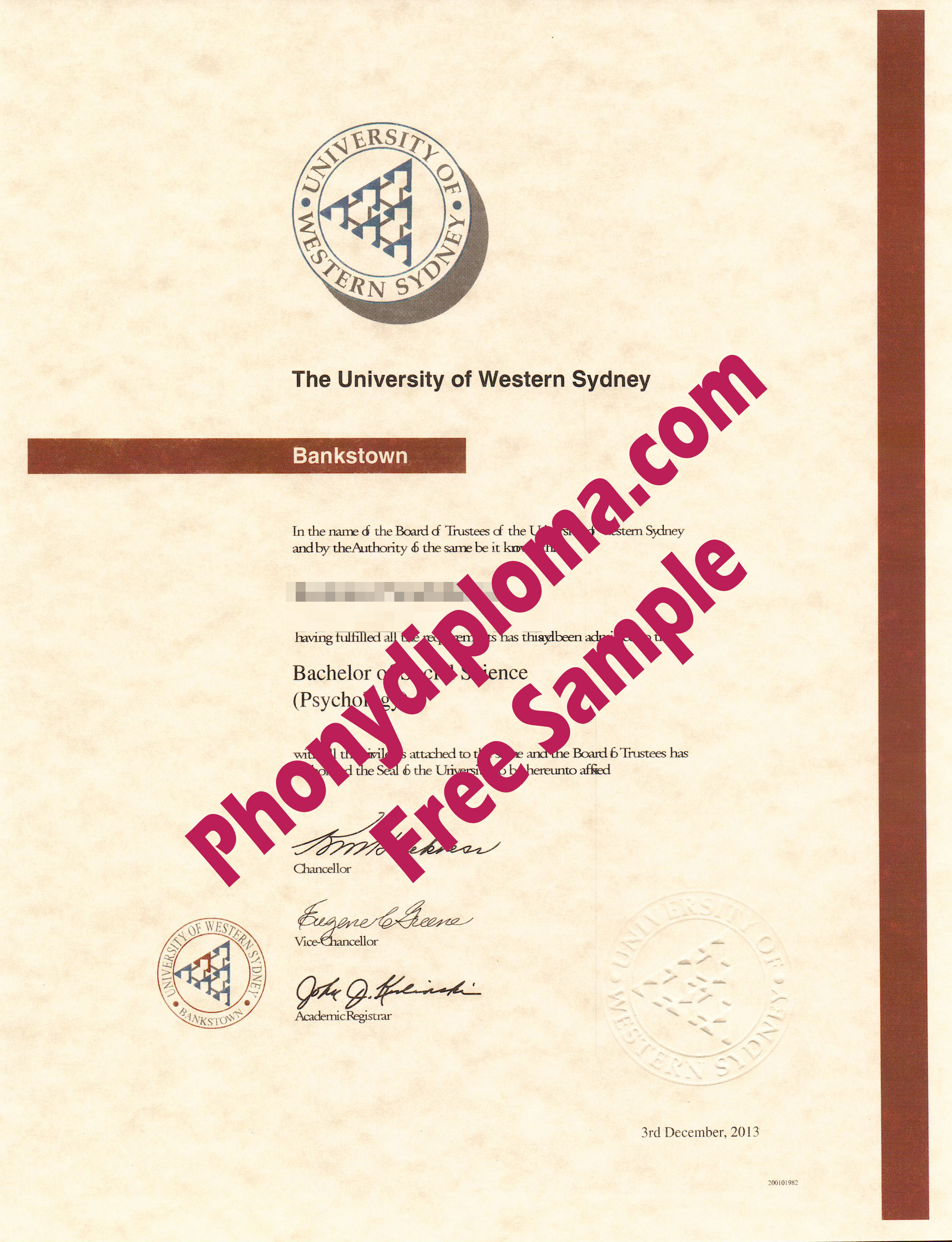 University Of Western Sydney 2 Free Sample From Phonydiploma