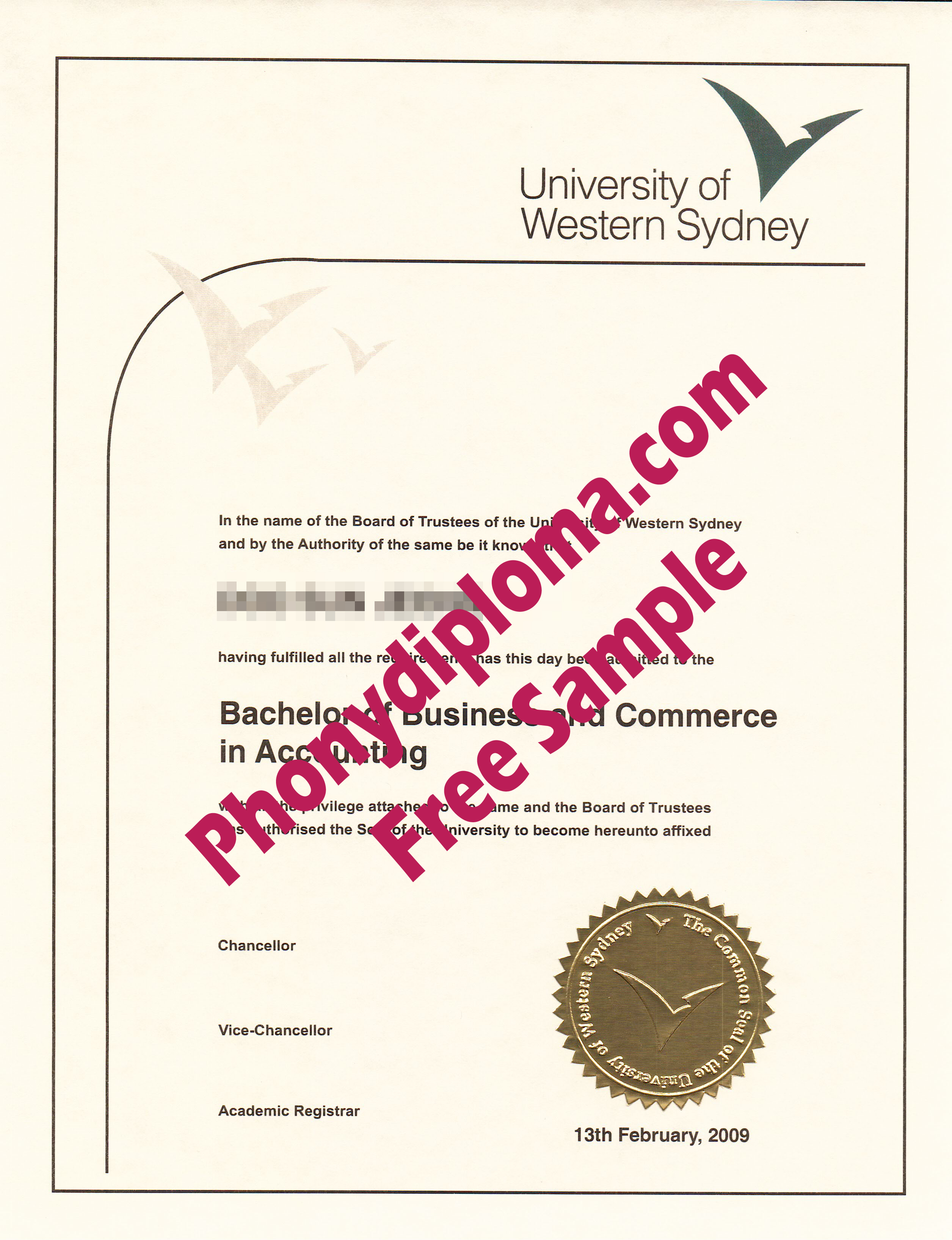 University Of Western Sydney 3 Free Sample From Phonydiploma