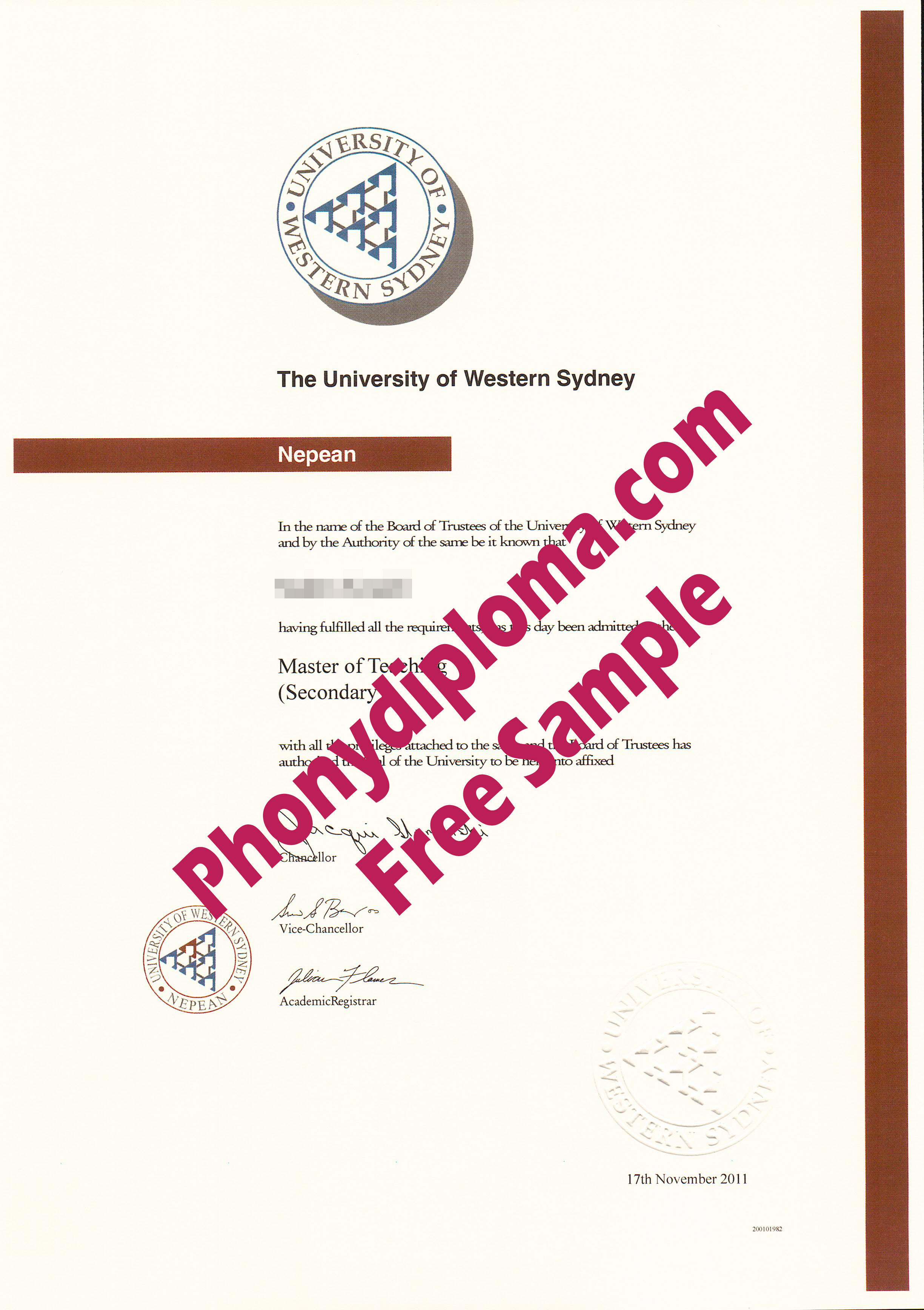 University Of Western Sydney Free Sample From Phonydiploma (2)