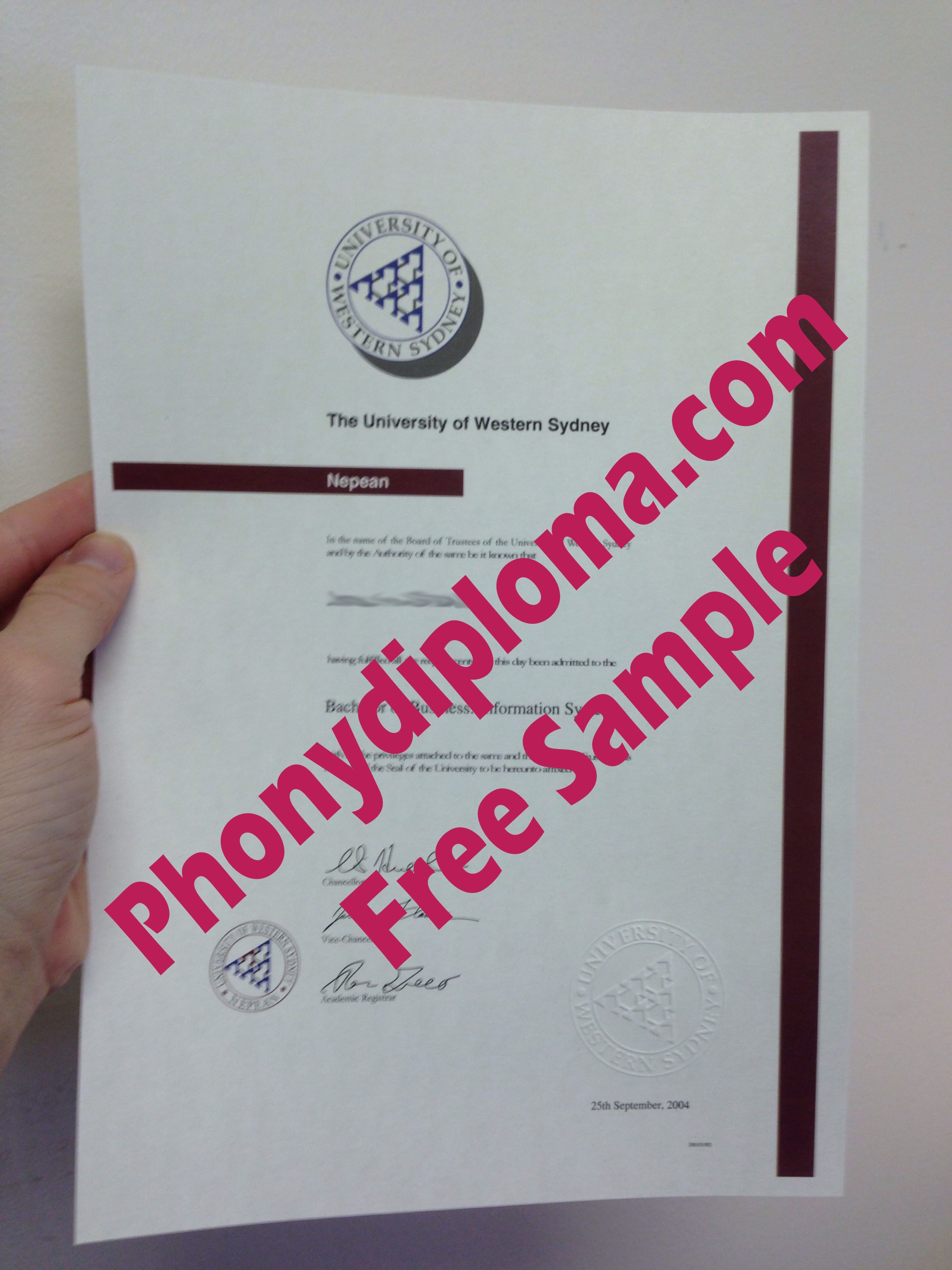 University Of Western Sydney Free Sample From Phonydiploma