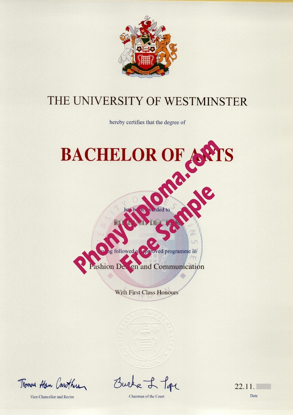 University Of Westminster Free Sample From Phonydiploma