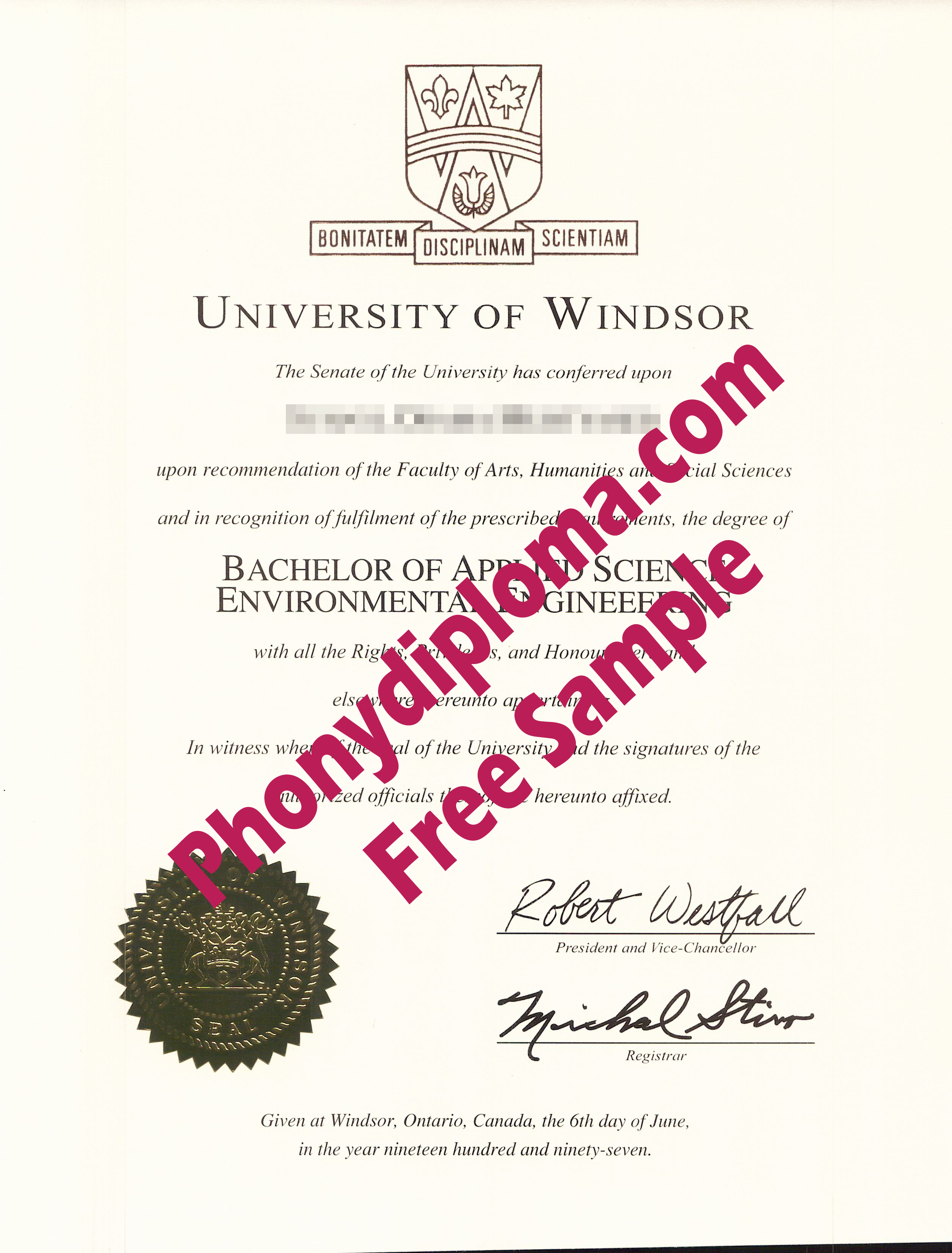 University Of Windsor Free Sample From Phonydiploma