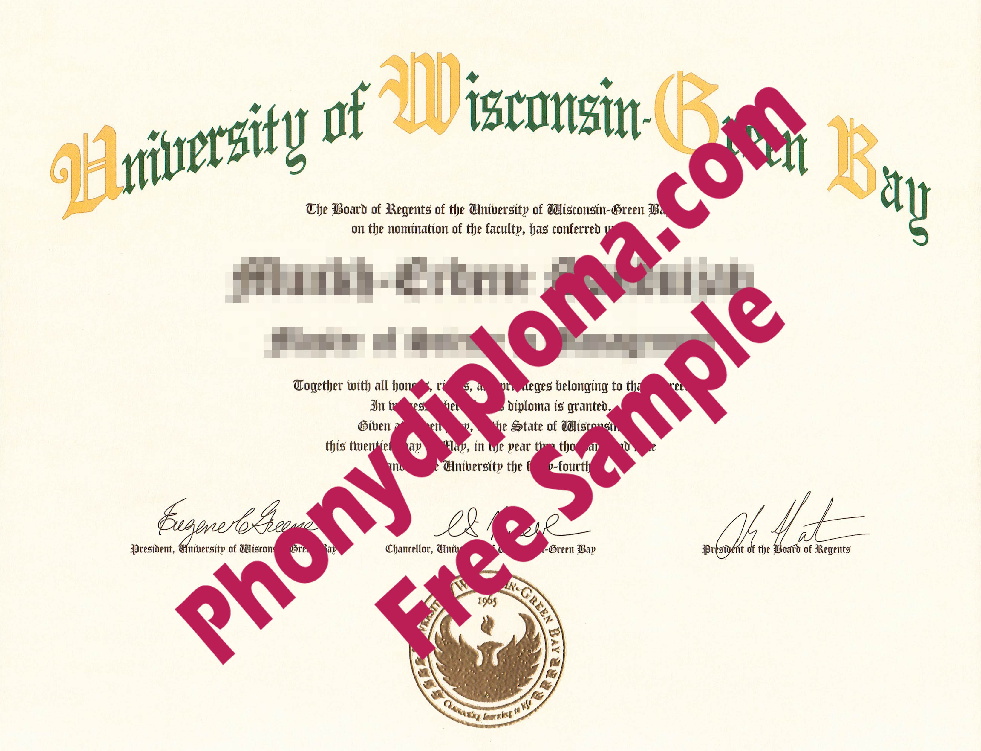 University Of Wisconsin Green Bay Free Sample From Phonydiploma