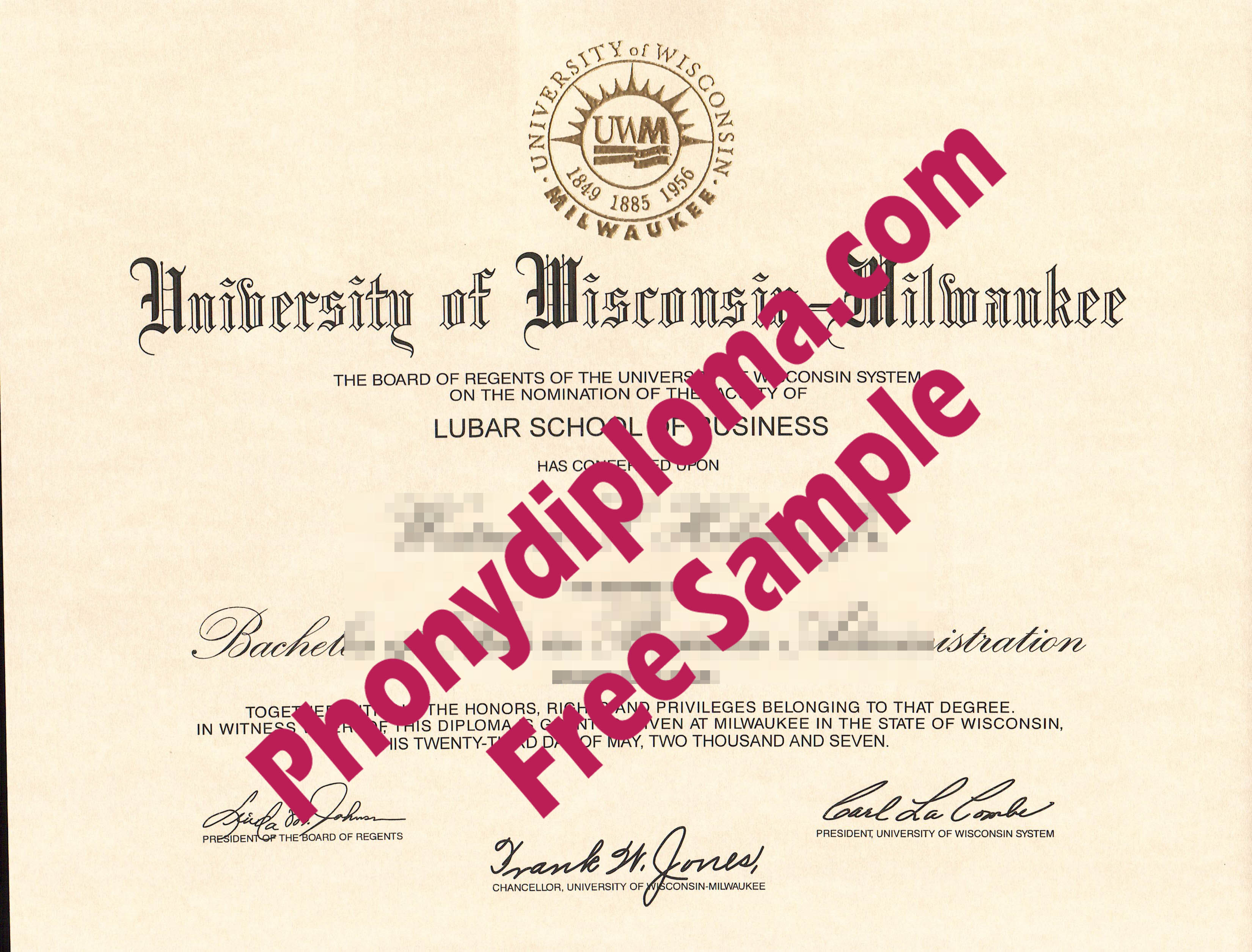 University Of Wisconsin Milwaukee Free Sample From Phonydiploma