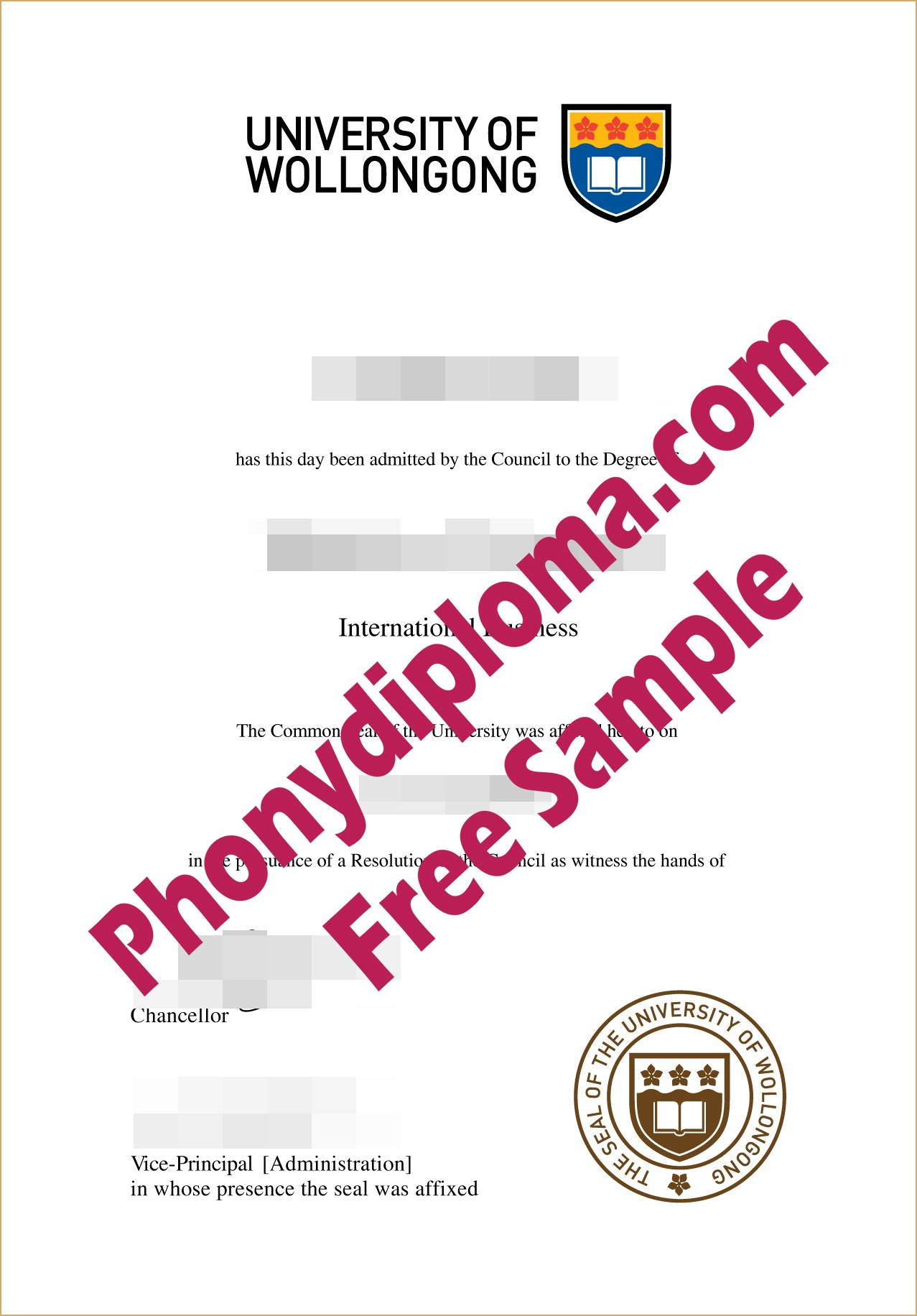 University Of Wollongong Free Sample From Phonydiploma