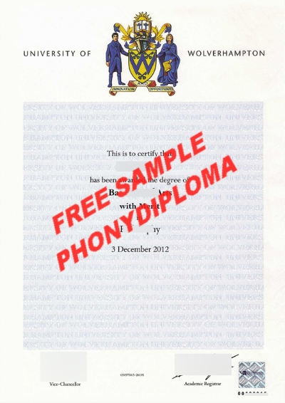 University Of Wolverhampton Diploma Free Sample From Phonydiploma