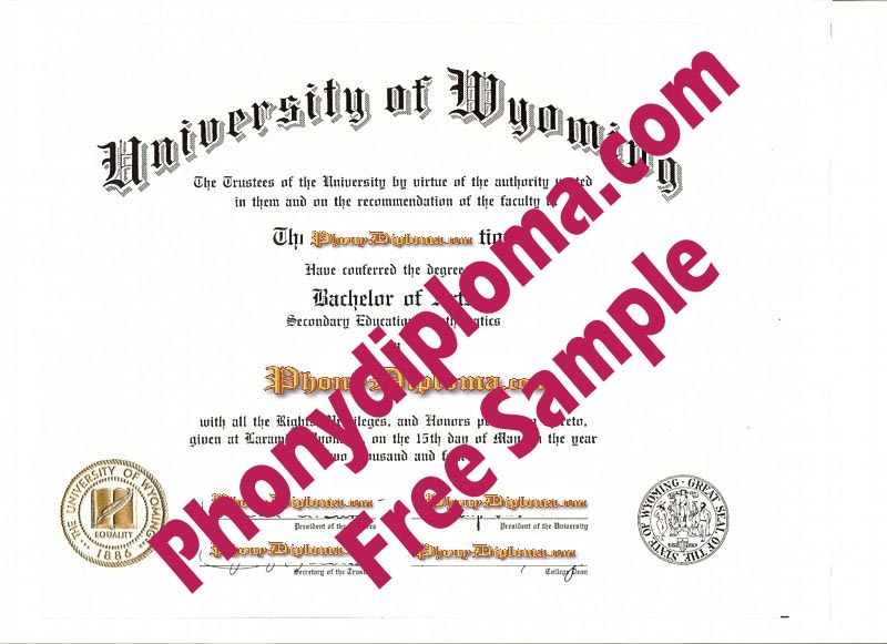 University Of Wyoming Free Sample From Phonydiploma