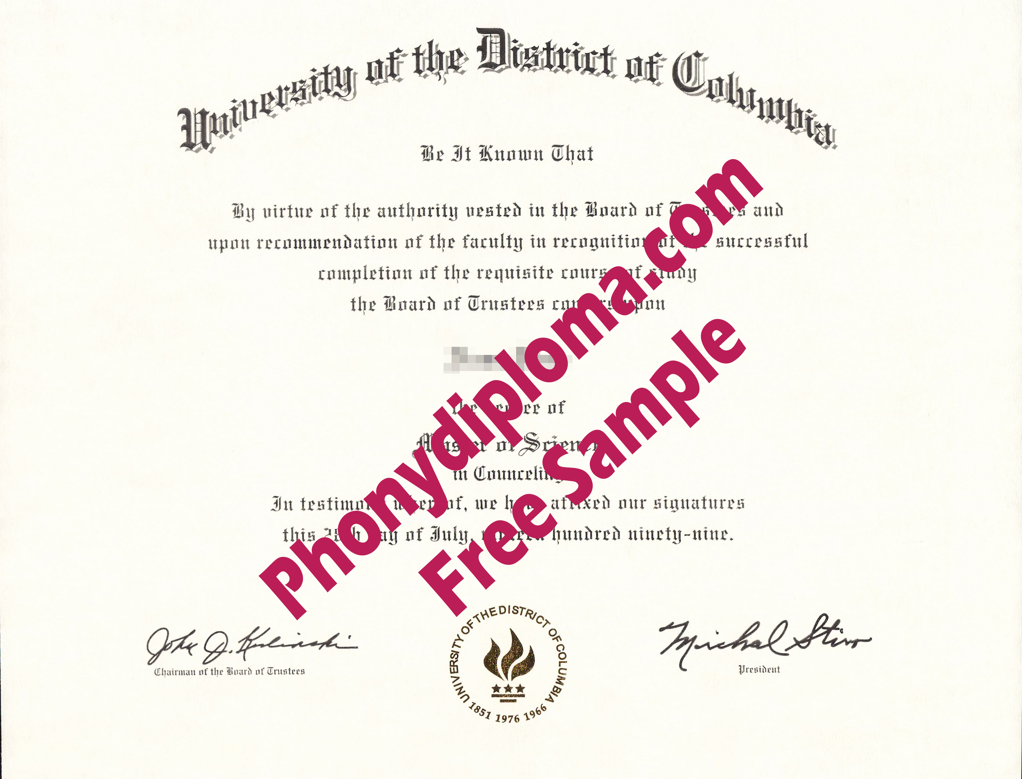 University Of The District Of Columbia Free Sample From Phonydiploma