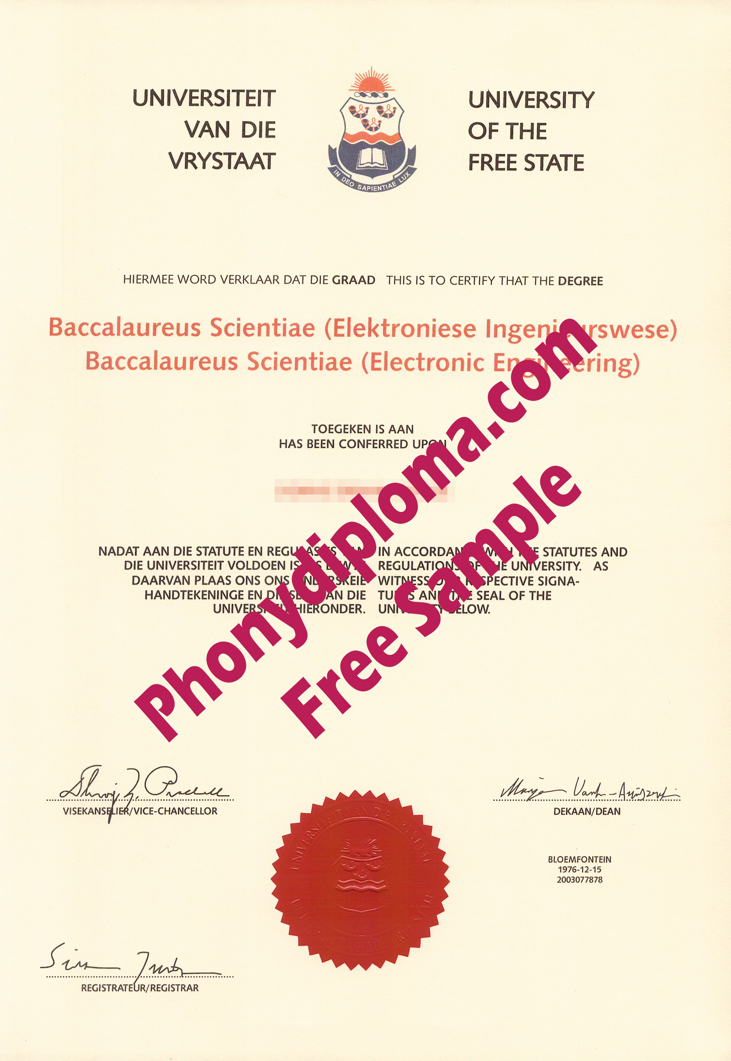 University Of The Free State Free Sample From Phonydiploma