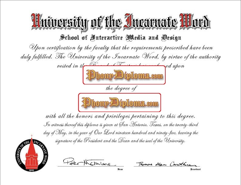 University Of The Incarnate Wordfree Sample From Phonydiploma