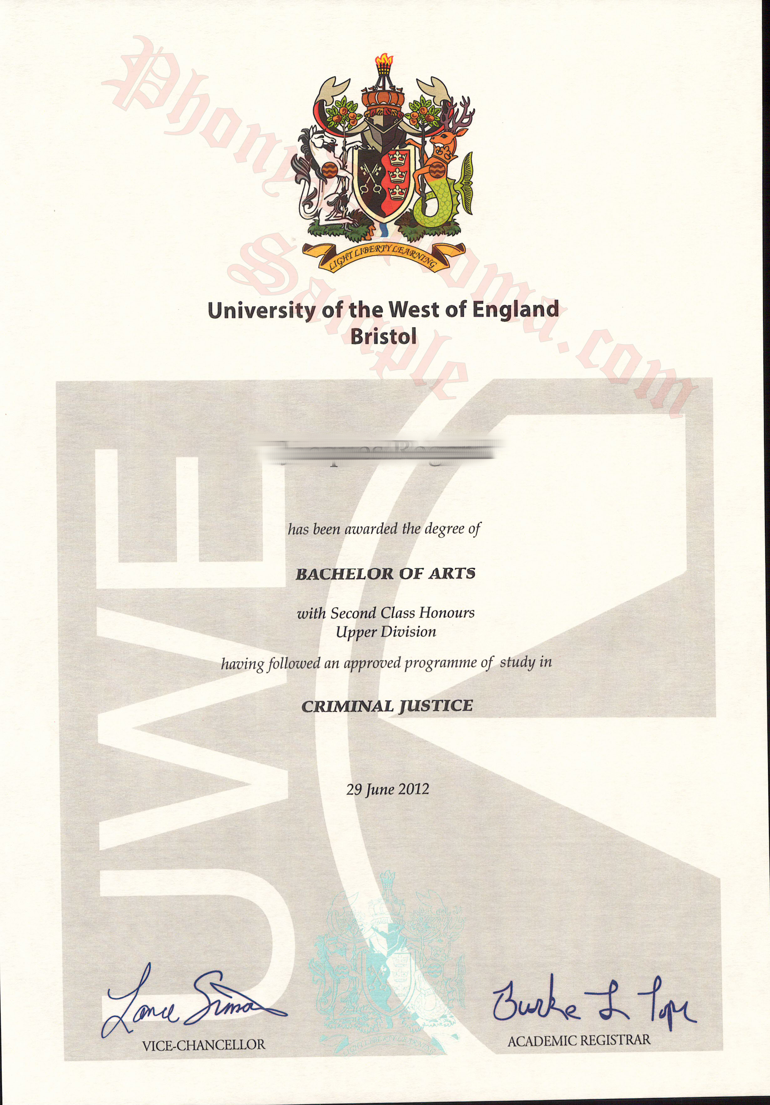 University Of The West Of England Bristol Free Sample From Phonydiploma 2