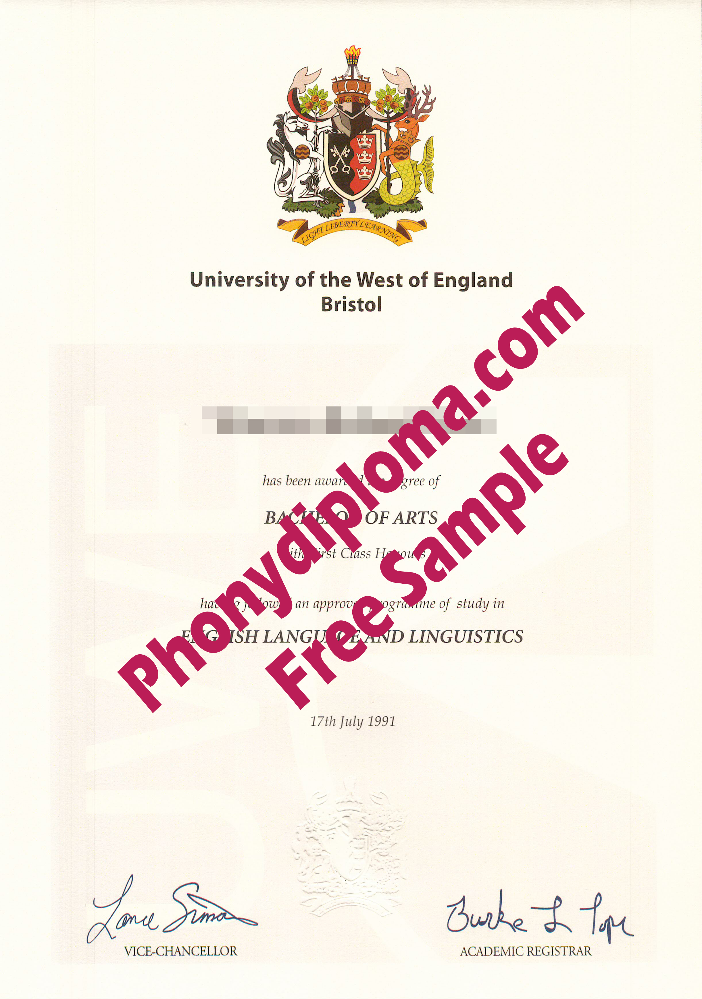 University Of The West Of England Bristol Free Sample From Phonydiploma