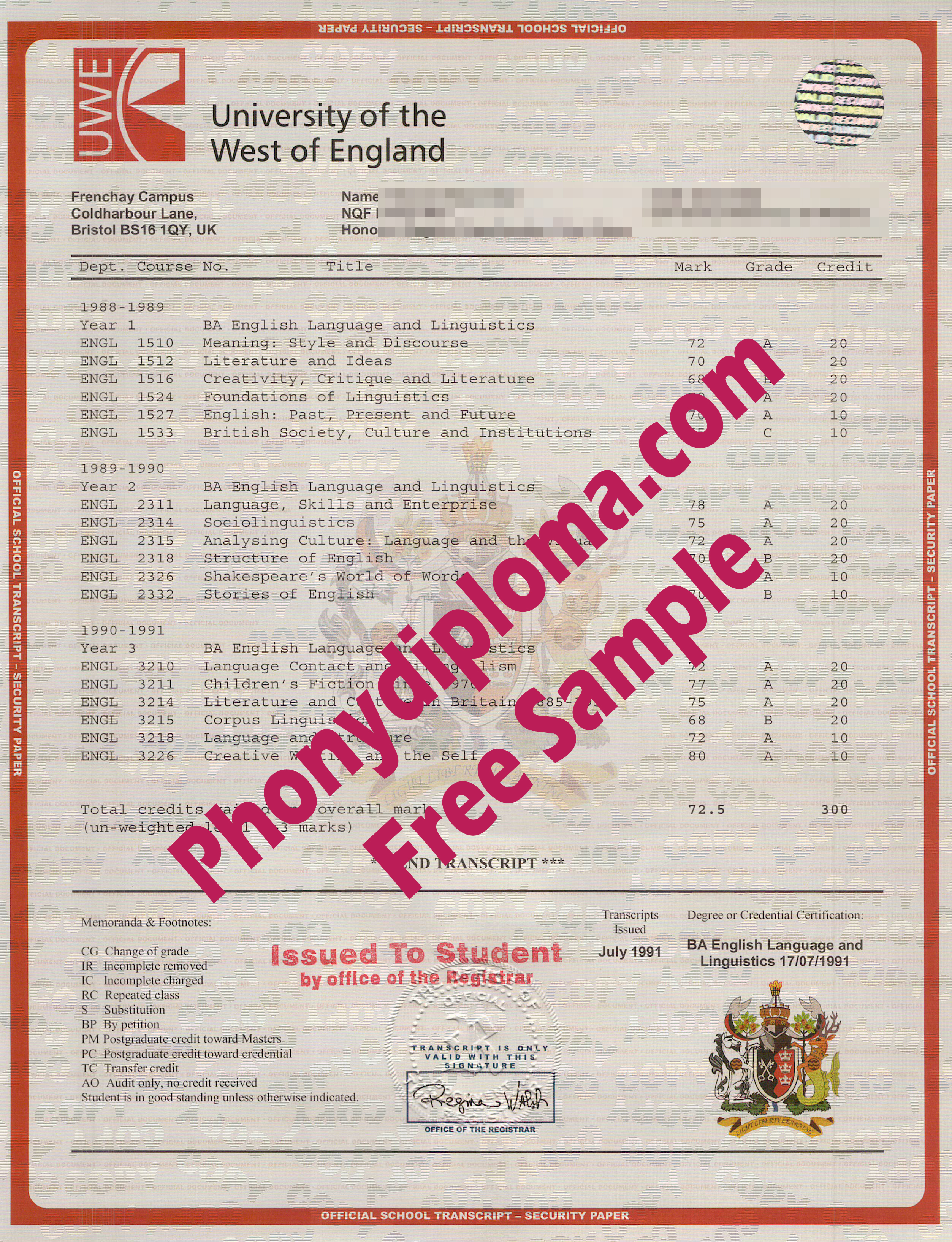 University Of The West Of England House Design Transcript Free Sample From Phonydiploma