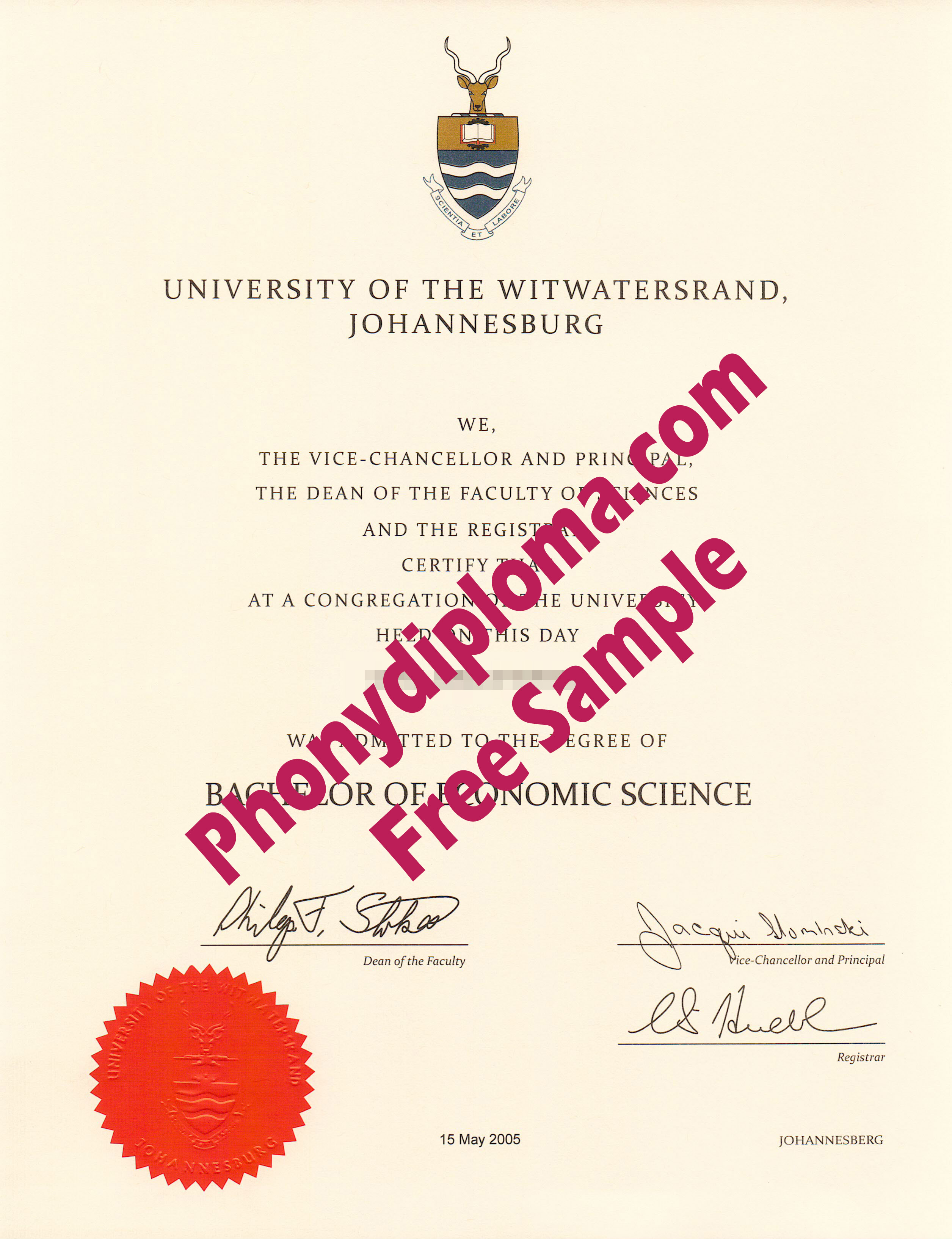 University Of The Witwatersrand Free Sample From Phonydiploma