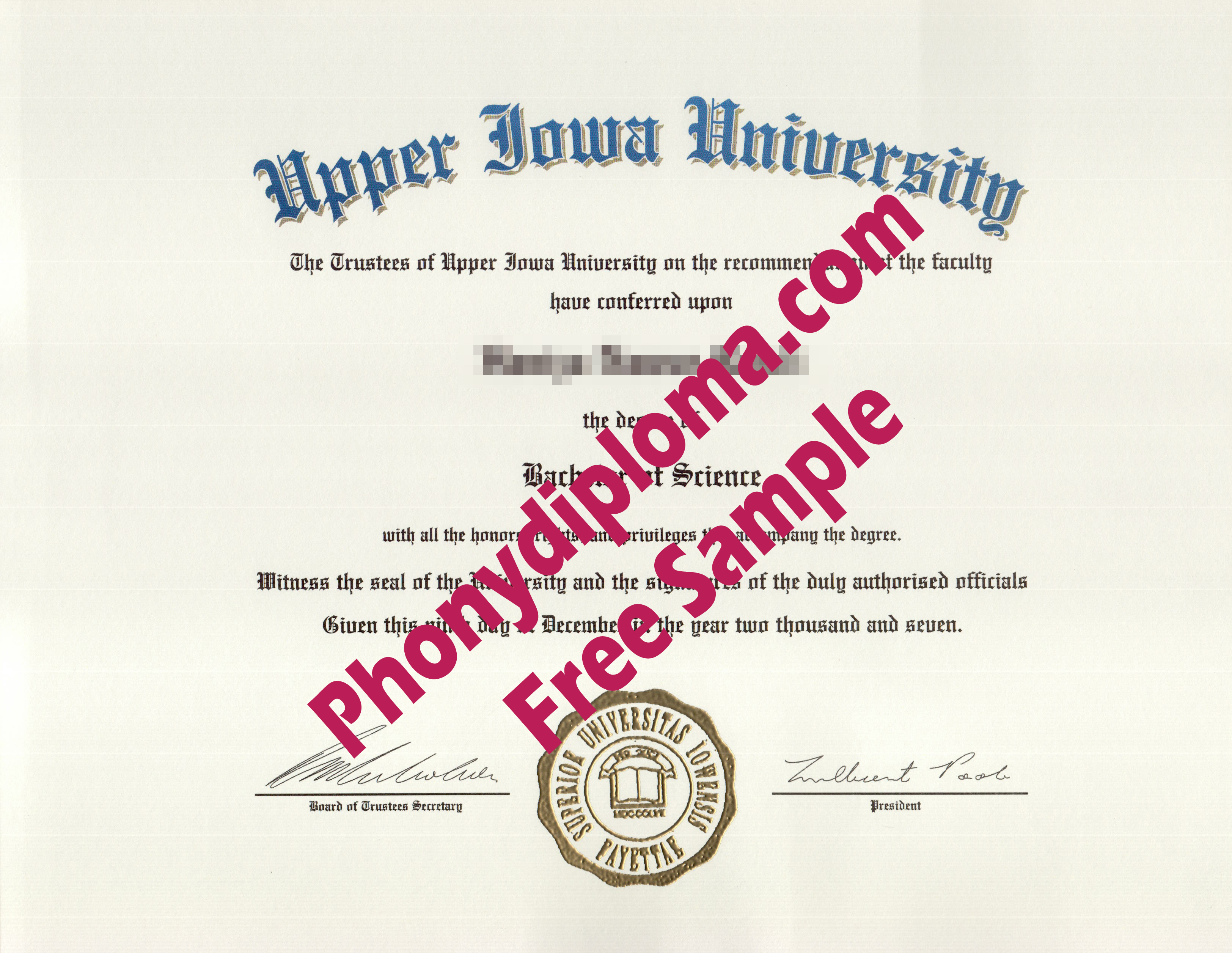 Upper Iowa University Free Sample From Phonydiploma