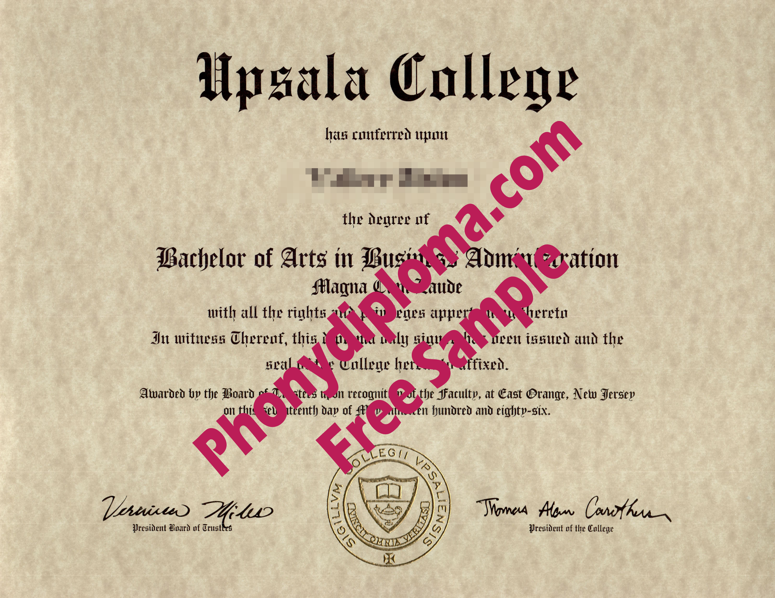 Upsala College Free Sample From Phonydiploma