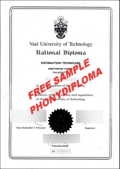 Vaal University Of Technology Free Sample From Phonydiploma