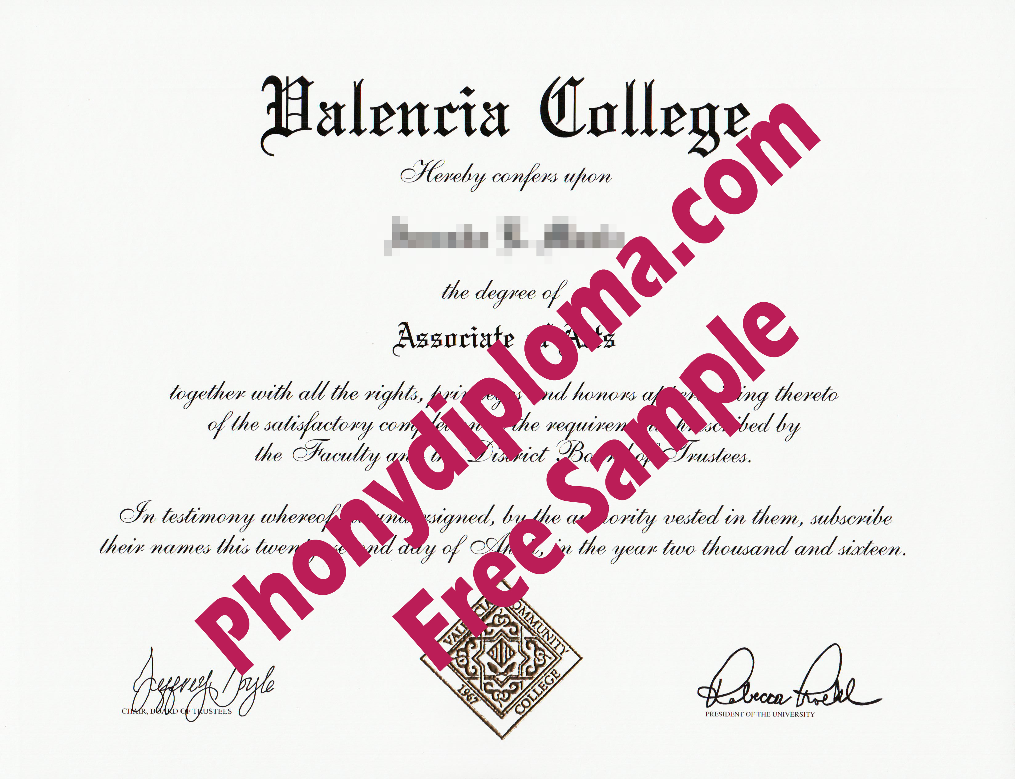 Valencia College Free Sample From Phonydiploma