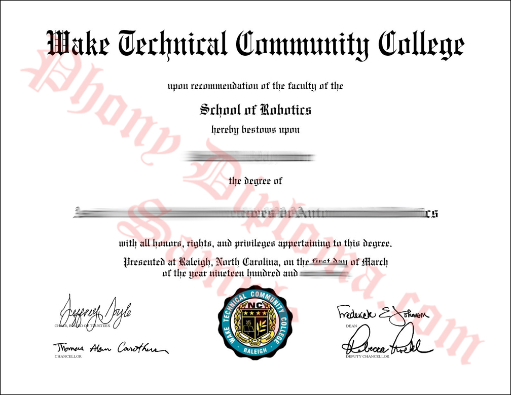 Wake Technical Commnity College Free Sample From Phonydiploma