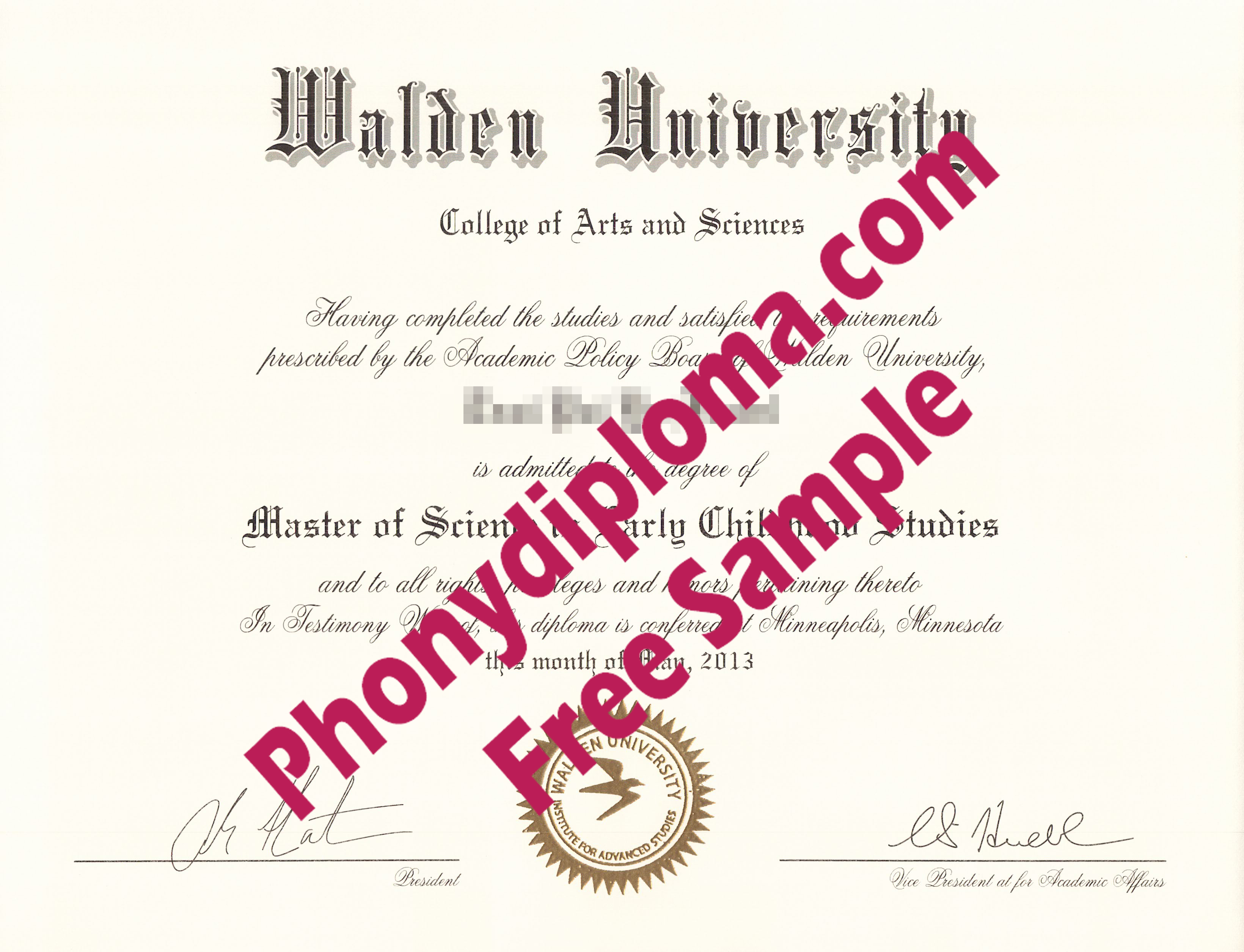 Walden University Free Sample From Phonydiploma