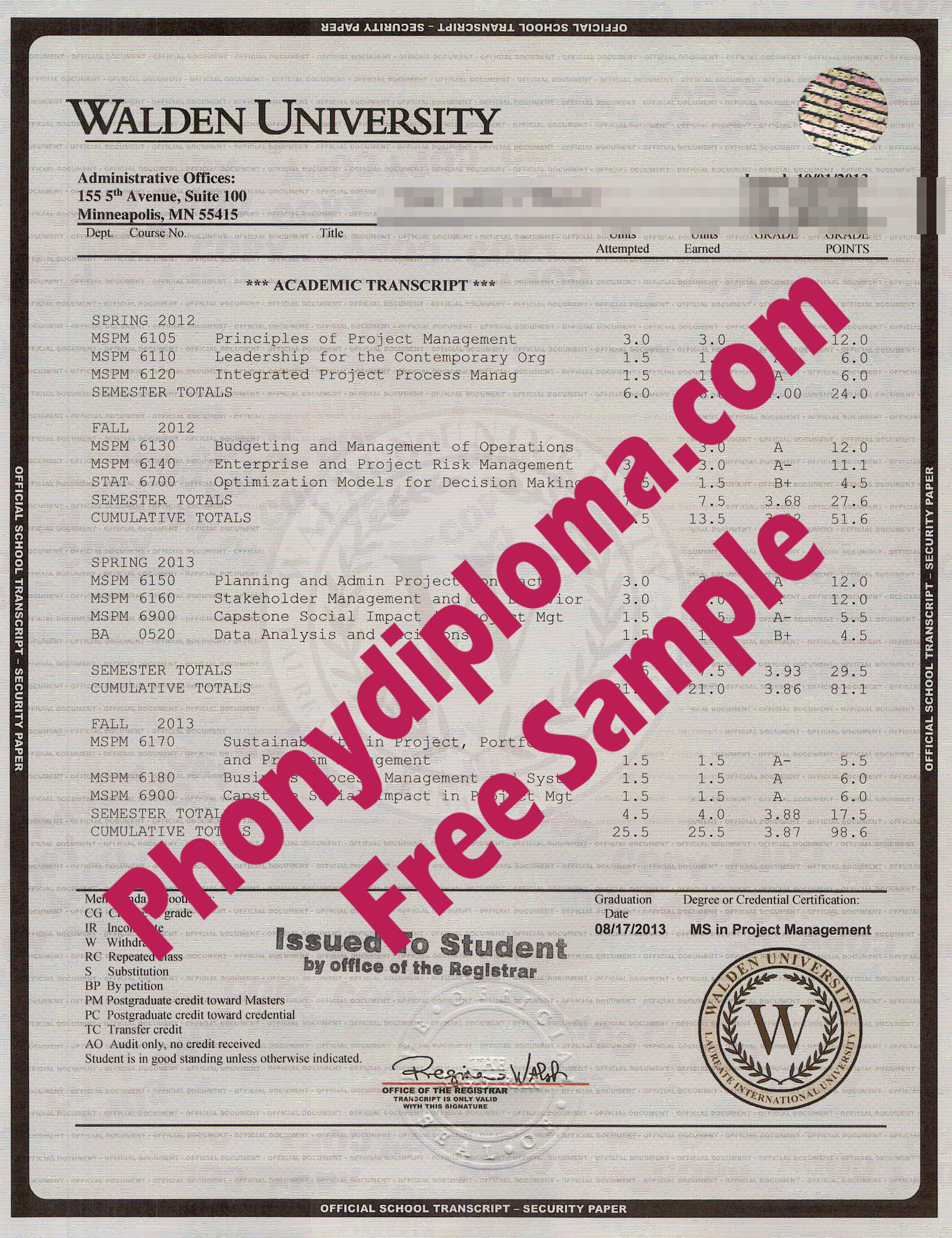 Walden University House Design Transcripts Free Sample From Phonydiploma
