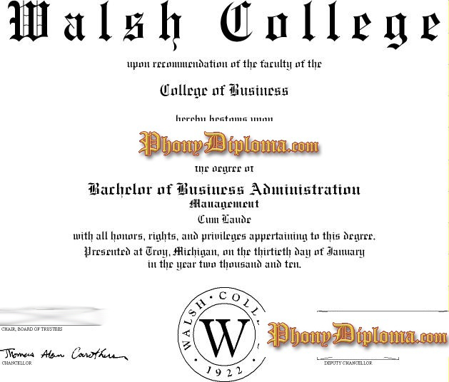 Walsh College Free Sample From Phonydiploma