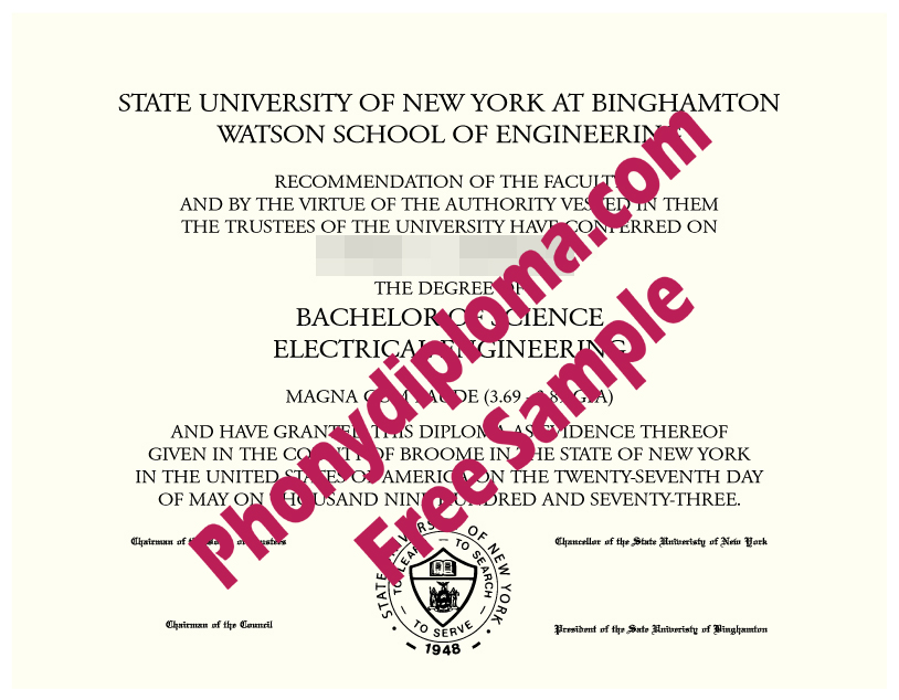 Walton, State University Of New York At Binghamton Free Sample From Phonydiploma