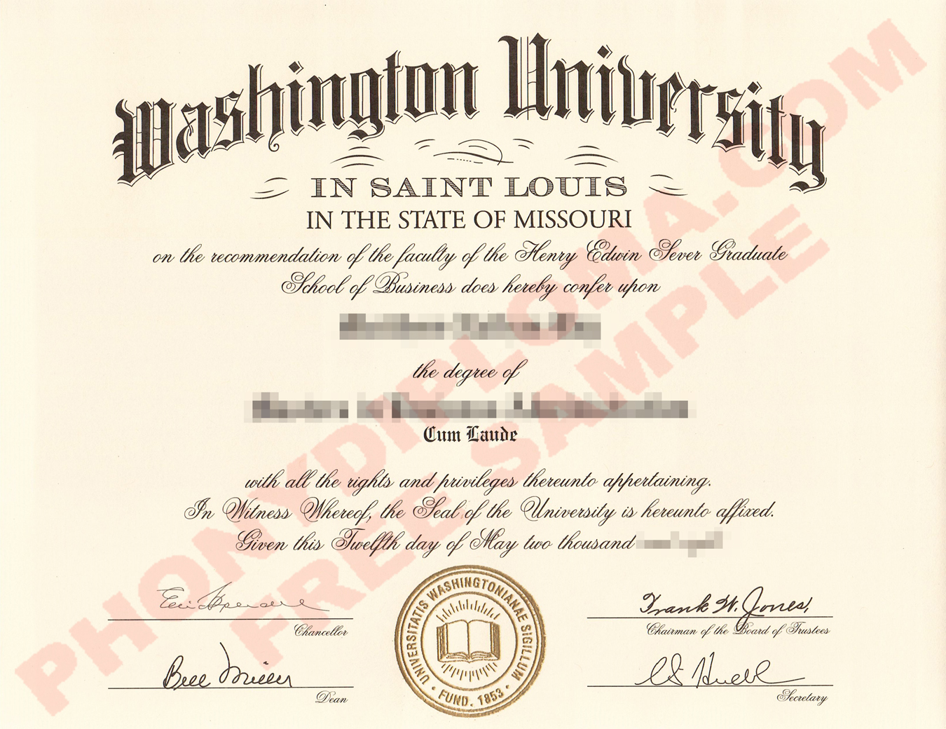 Washington University In Saint Louis Free Sample From Phonydiploma