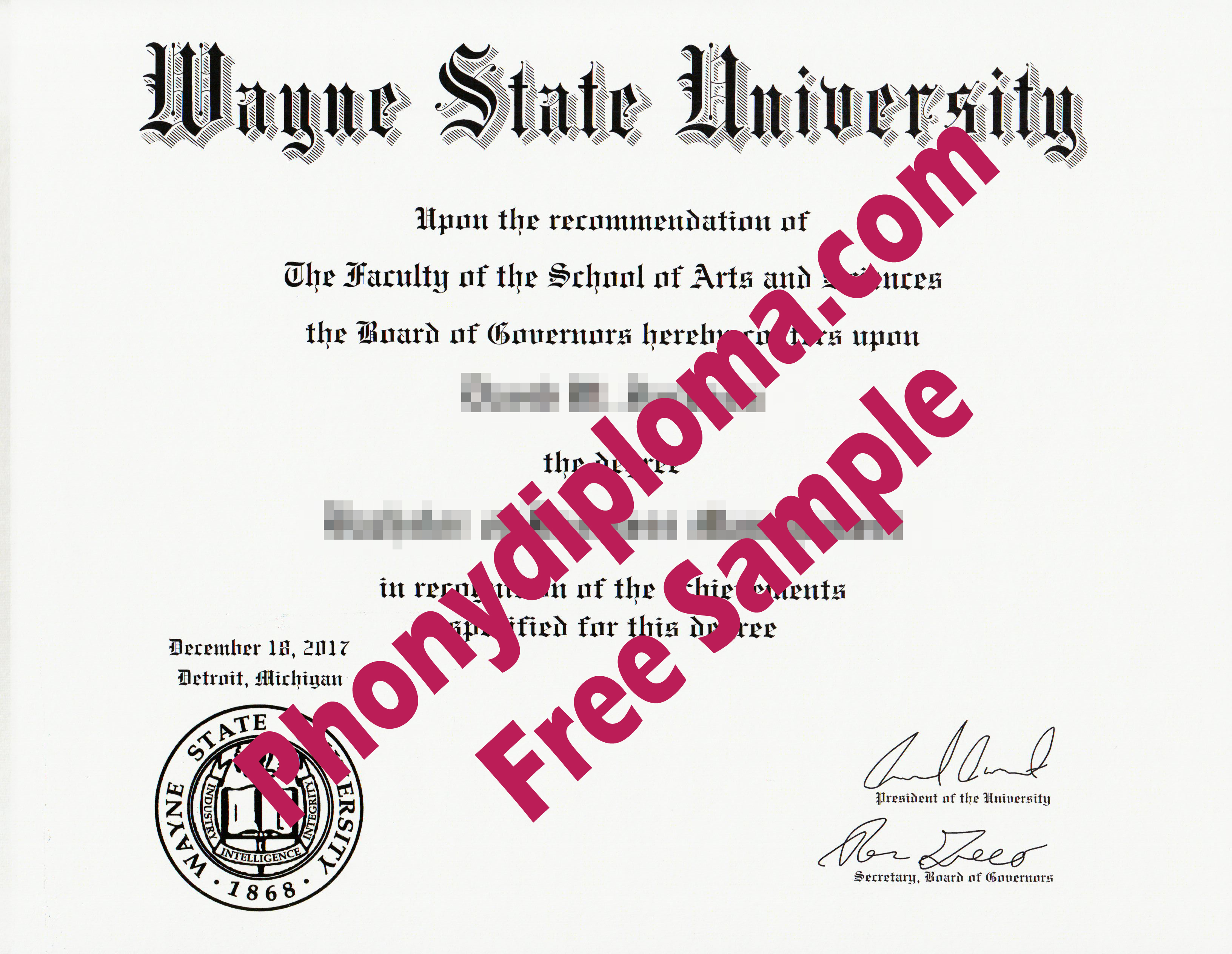 Wayne State University Free Sample From Phonydiploma