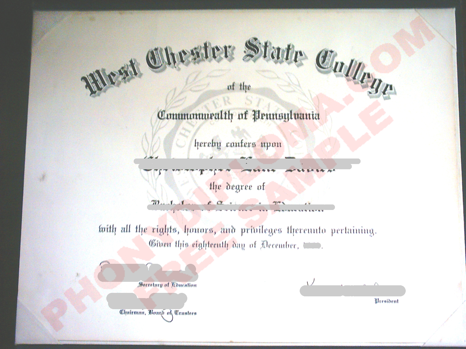 West Chester State College Free Sample From Phonydiploma