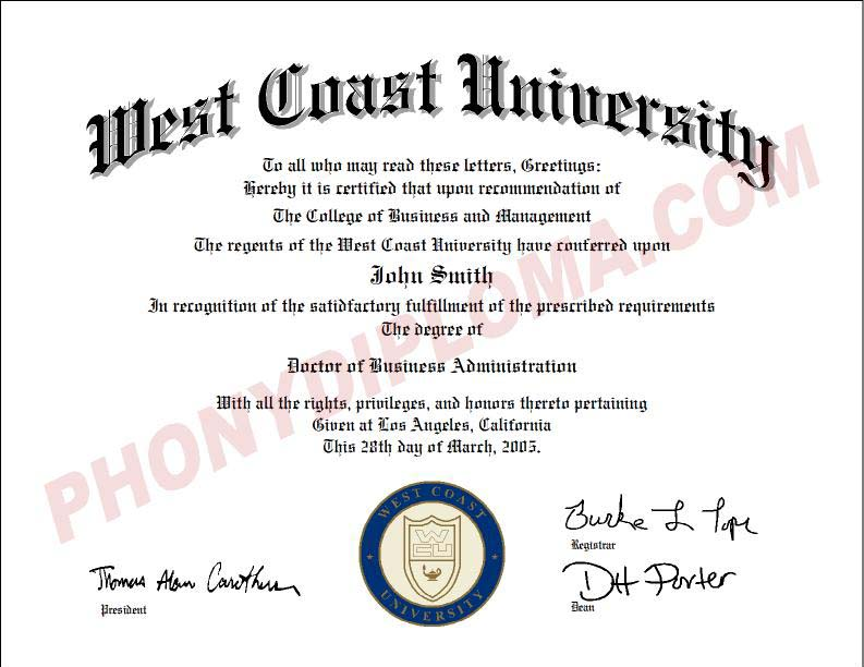 West Coast University Emblem In Ink Free Sample From Phonydiploma