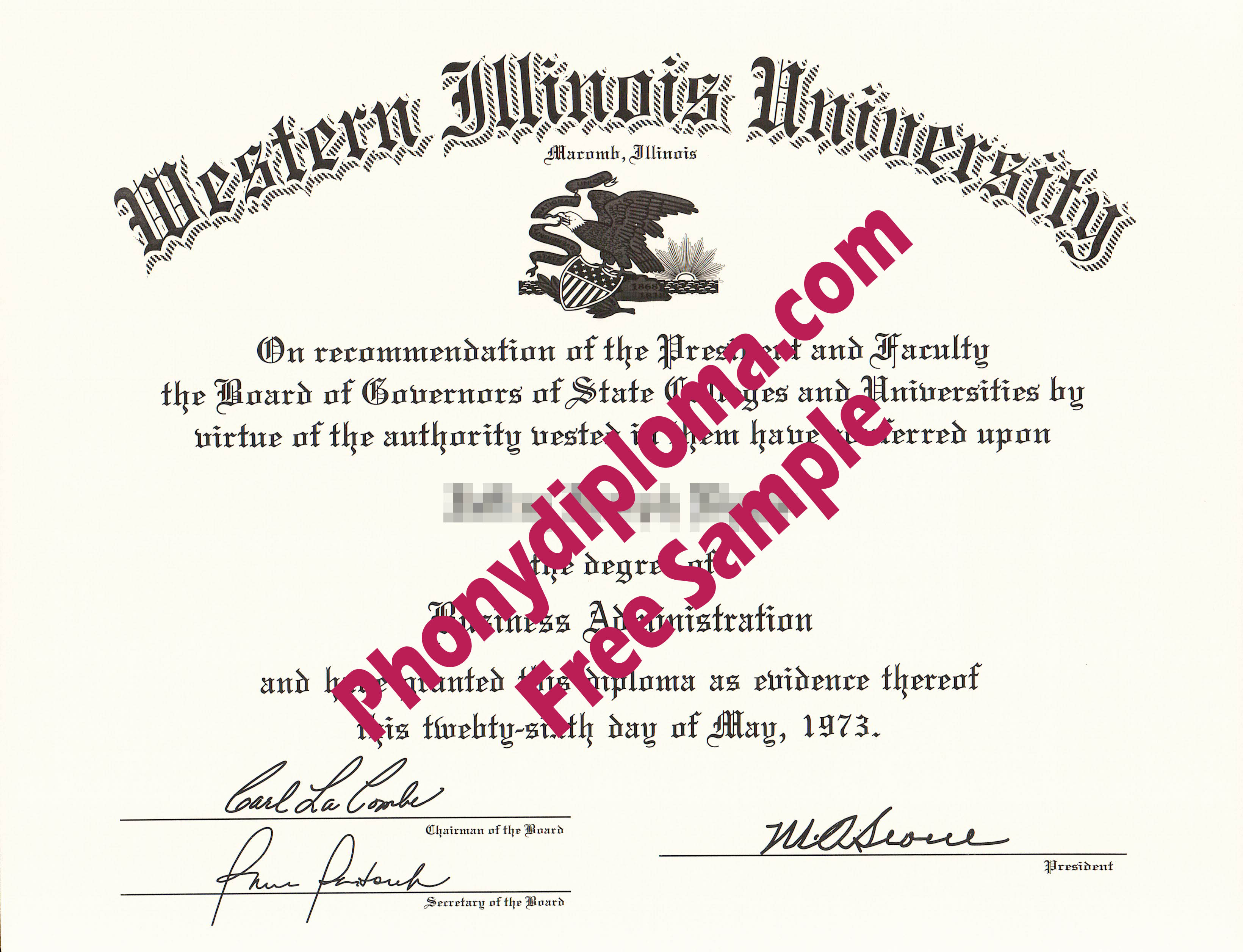 Western Illinois University Free Sample From Phonydiploma