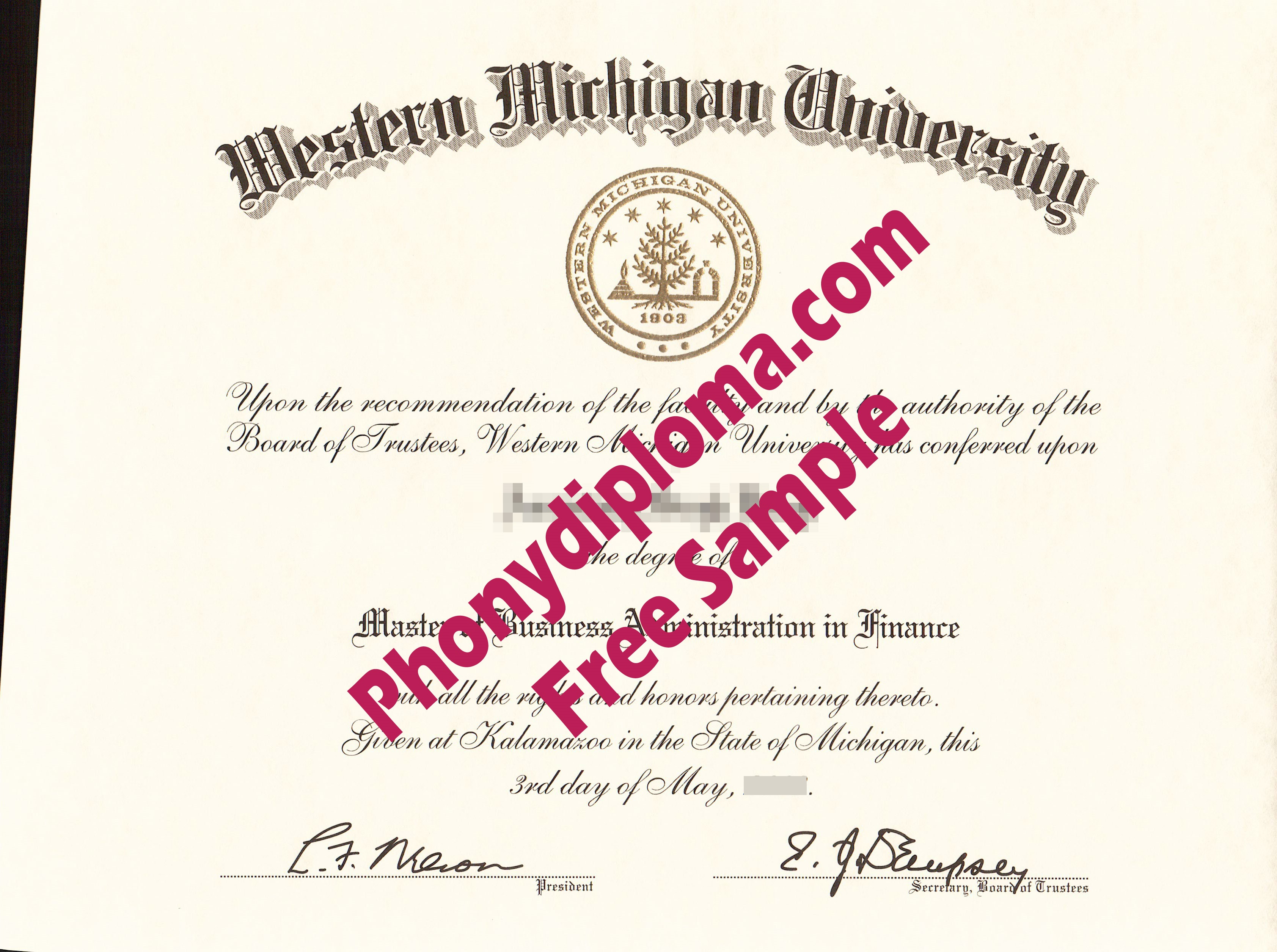 Western Michigan University Free Sample From Phonydiploma