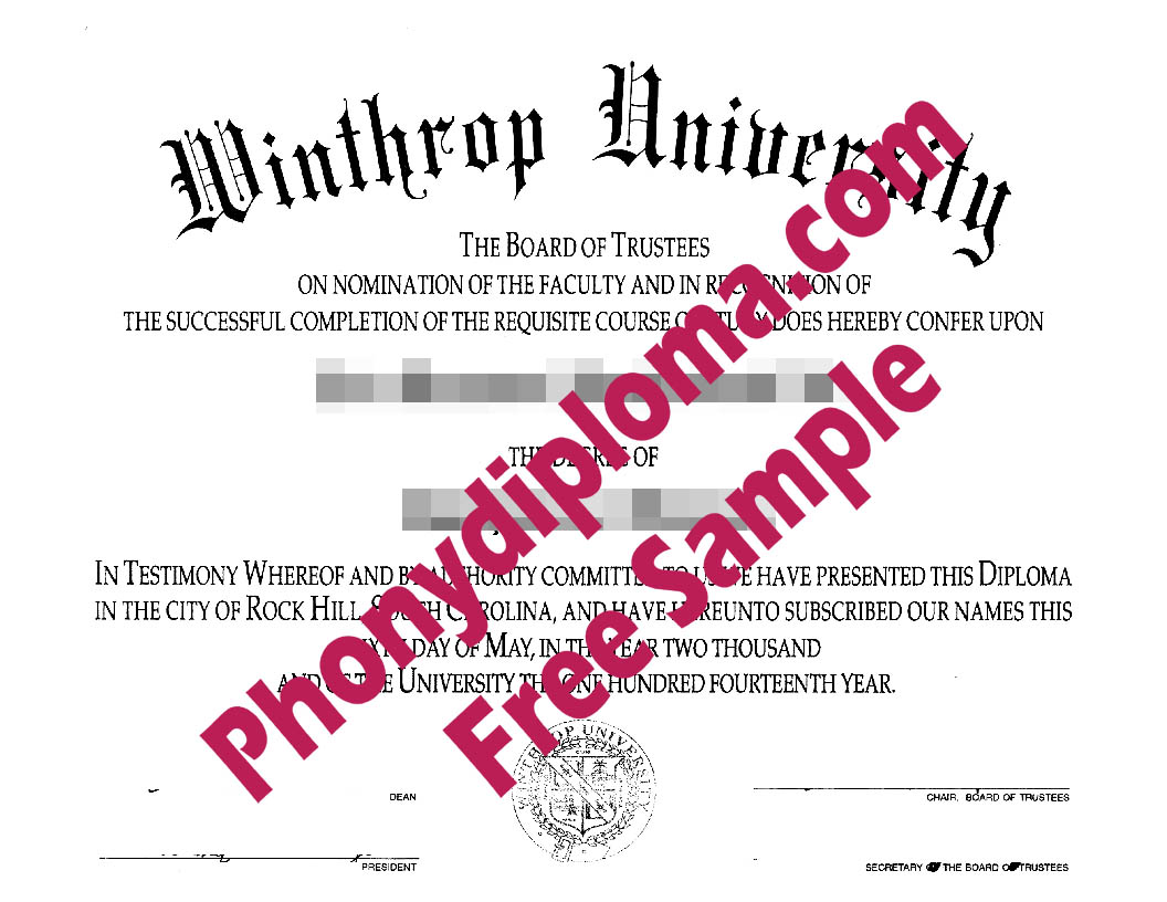 Winthrop University Free Sample From Phonydiploma