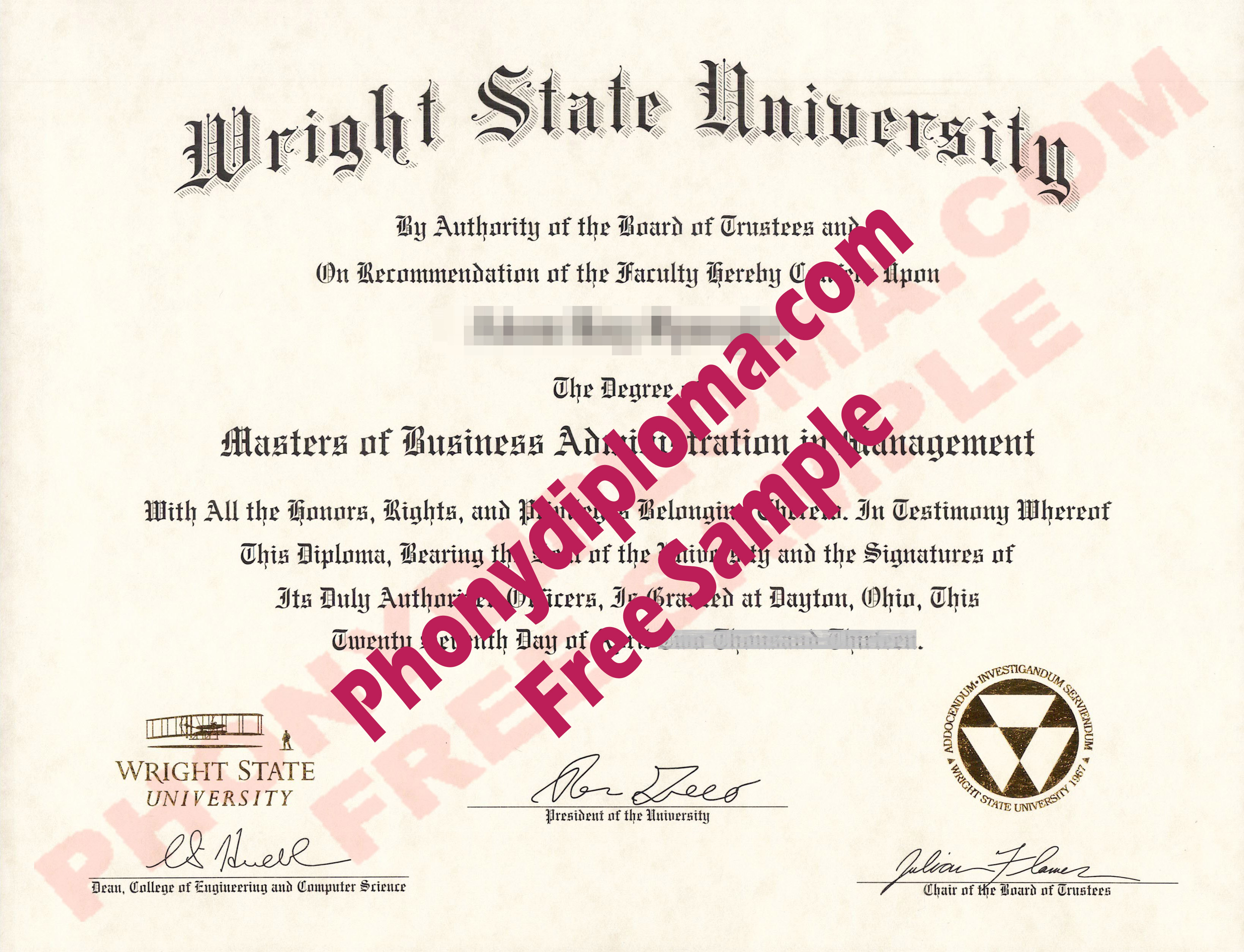 Wright State University Ohio Free Sample From Phonydiploma
