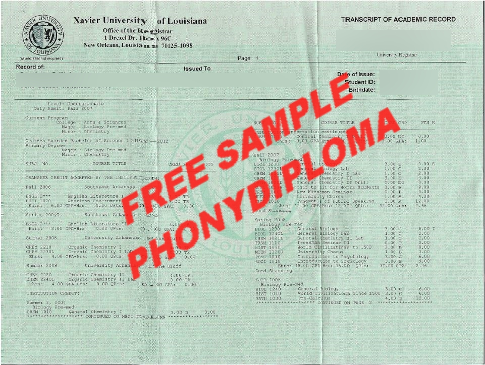 Xavier University Actual Match Transcripts Free Sample From Phonydiploma