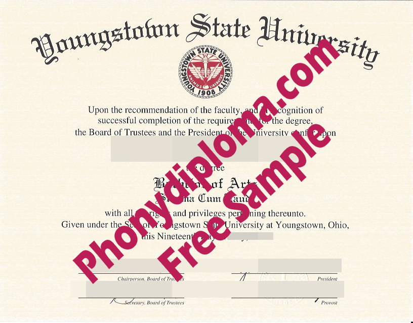 Youngstown State University Free Sample From Phonydiploma