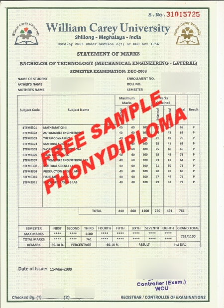All Fake Diploma Samples in India - PhonyDiploma com