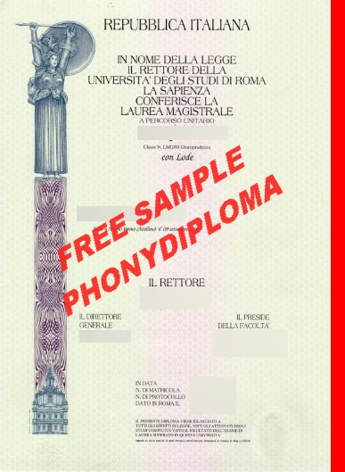 Italy Repubblica Italiana Universita Degli Studi Di Roma Sample From Phonydiploma