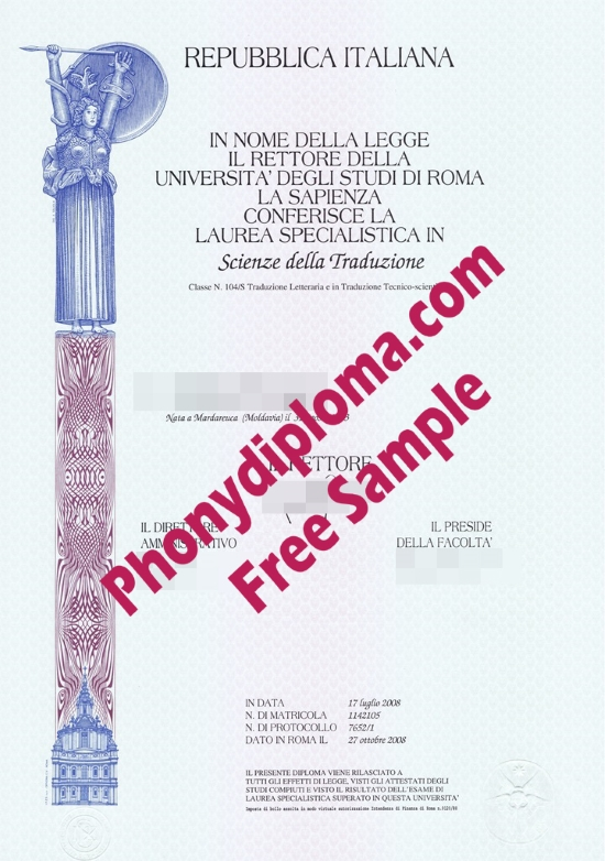 Italy Repubblica Italiana Universita Degli Studi De Roma Free Sample From Phonydiploma