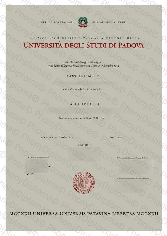 Italy Universita' Degli Studi Di Padova Free Sample From Phonydiploma