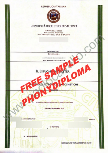 Italy Universita Degli Studi Di Salerno Free Sample From Phonydiploma