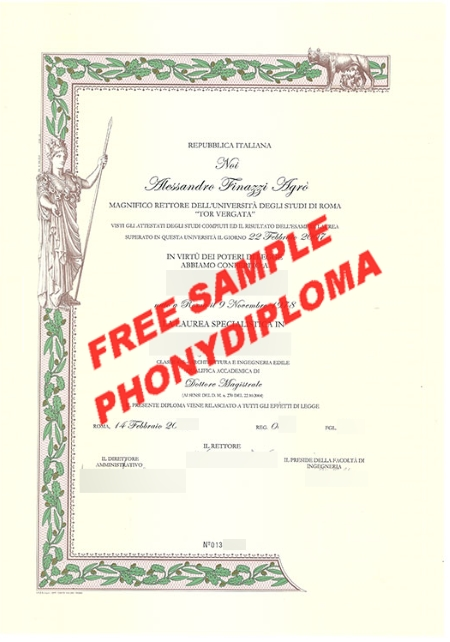 Italy Università Degli Studi Di Tor Vergata Free Sample From Phonydiploma