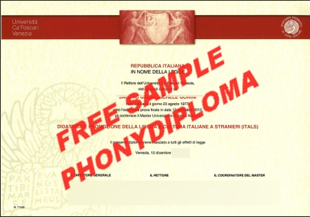 Italy Universita Ca Foscari Free Sample From Phonydiploma