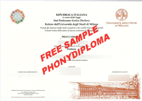 Italy Universita Degli Studi Di Milano Free Sample From Phonydiploma
