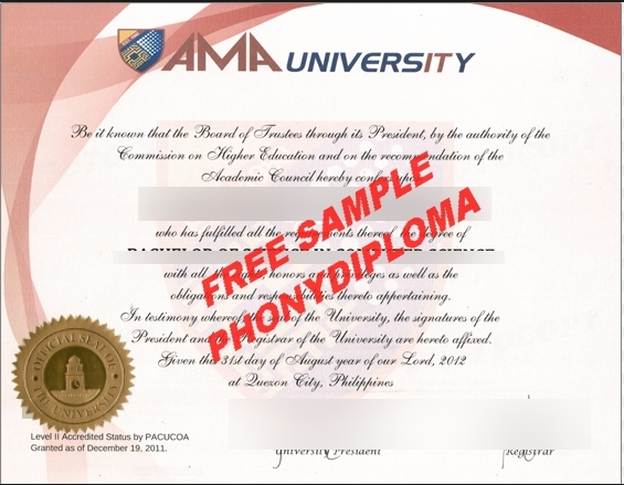 Philippines Ama University Diploma Free Sample From Phonydiploma