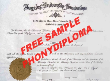 Philippines Angeles University Foundation Free Sample From Phonydiploma